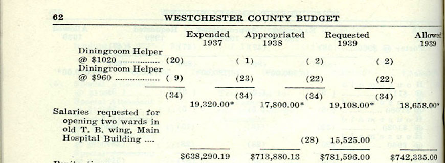 List of positions and 1937 salaries for penitentiary, part of Grasslands Hospital complex. Click image to view full page.  Source: Series 110, County Budgets, 1930-1991, 1939 Budget, A-0271 (1)F, folder 10