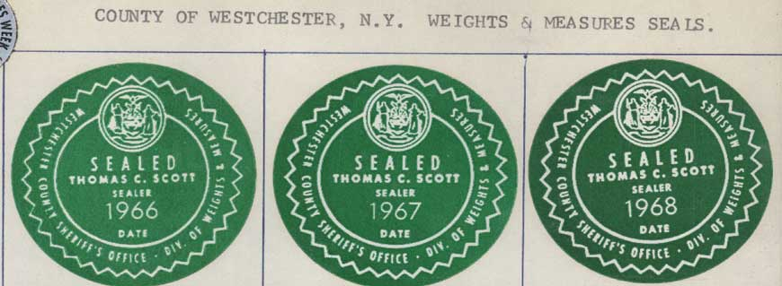 Westchester County Division of Weights and Measurements seals.