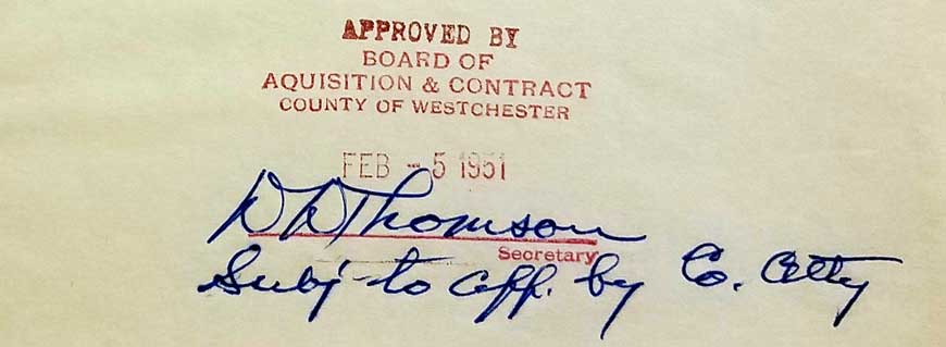 Acquisition & Contract stamp of approval, 1951