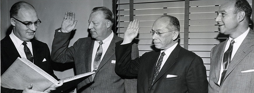 Swearing-In Ceremony for Department Heads, 1958 (PMC 130)