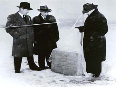 Preparing Cornerstone and Ribbon for Opening of Westchester County Airport, 1945 (P-129)