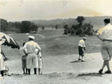 Teeing off at Maple Moor Golf Course, 7 July 1929 (PPC-5960)