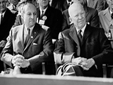 County Executive Edwin G. Michaelian with President Dwight D. Eisenhower at Nixon-Lodge Rally, 1960 (PMC-260)