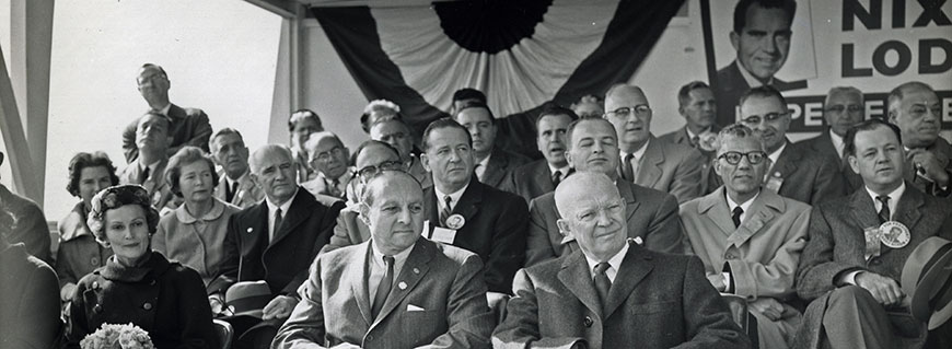 County Executive Edwin G. Michaelian with President Dwight D. Eisenhower at Nixon-Lodge Rally, 1960 (PMC-260).