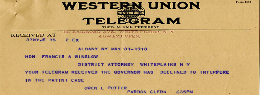 Telegram from Patini murder case, 1911