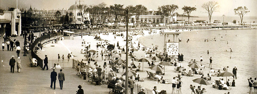 Playland boardwalk and beach, ca. 1930 (PPC5778)