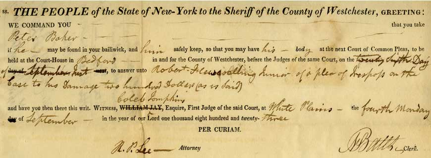 Court of Common Pleas Capias record, 1823 (Series 221, A-0311(29)L, F24)