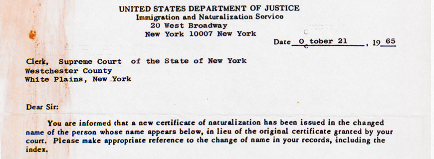 Portion of a letter confirming a name change for a petition, 1963. Series 11, Naturalization Petitions, A-0019 (64), doc 17836