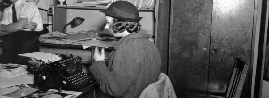 Woman in an office, c. 1930 (PPL06325)