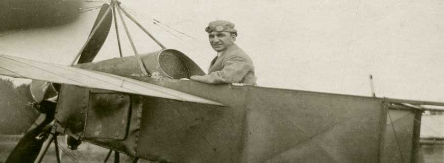 John Wilmer piloting an airplane, ca. 1912