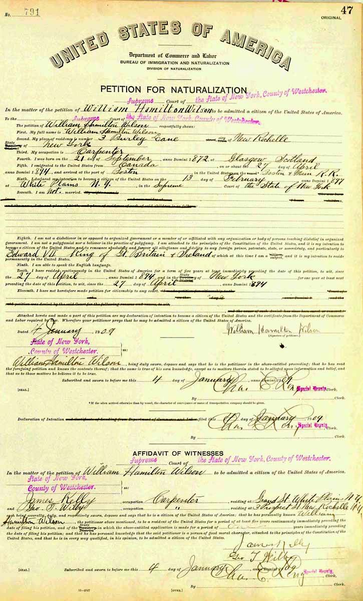 Sample Petition for Naturalization, 1909